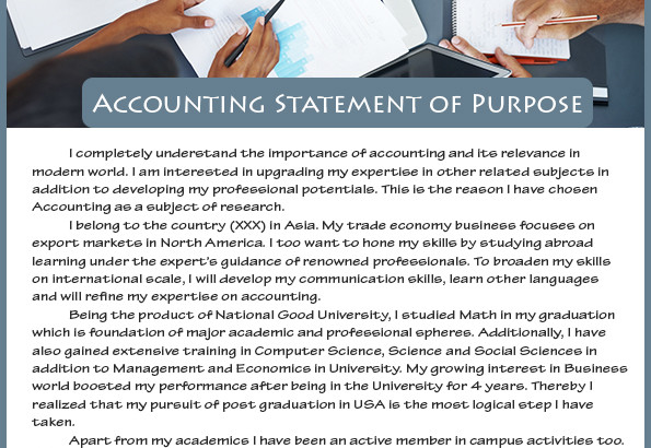best sample statement of purpose accounting