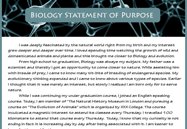 best statement of purpose biology sample