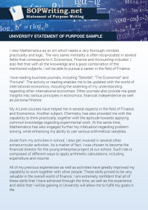 university statement of purpose sample