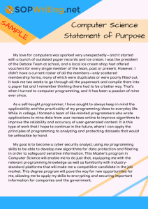 computer science statement of purpose sample